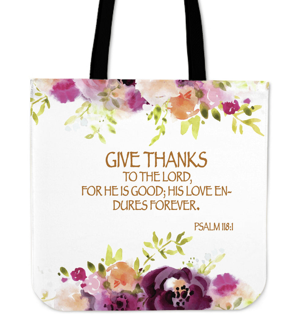 Give Thanks To The Lord Linen Tote Bag