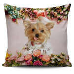 Floral Yorkie Pillow