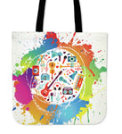 Beautiful Colorful Music Lover Linen Tote Bag