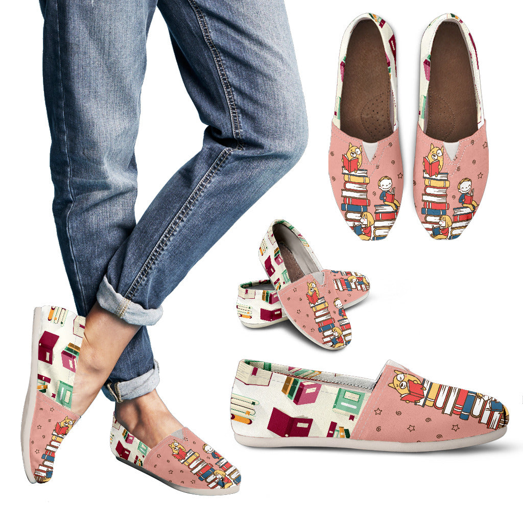 Book Lovers Pink Casual Shoes