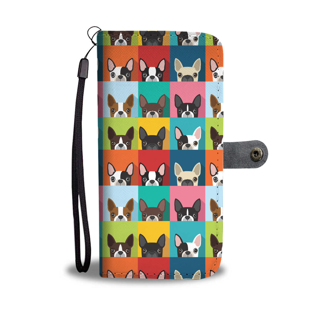 Beautiful Boston Terrier Pattern Wallet Phone Case