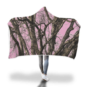 Pink Camo Premium Sherpa Hooded Blanket