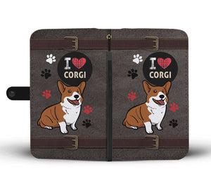 I Love Corgi Wallet Phone Case