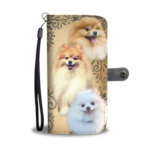 Cute Pomeranian Dog Wallet Phone Case