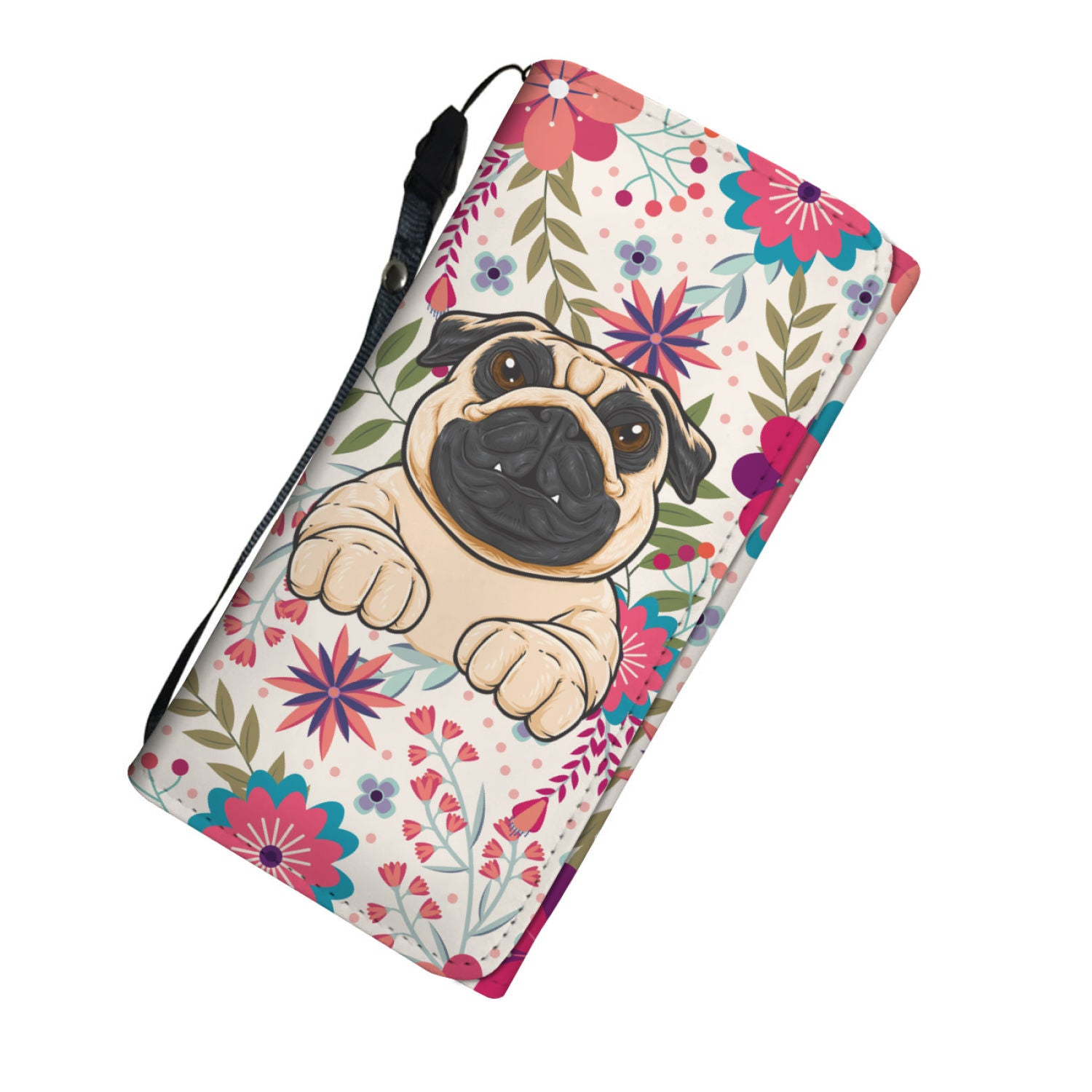 Beautiful Floral Pug Women's Wallet