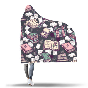 Book Pattern Hooded Blanket