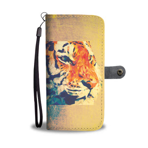 Distressed Tiger Design Wallet Phone Case