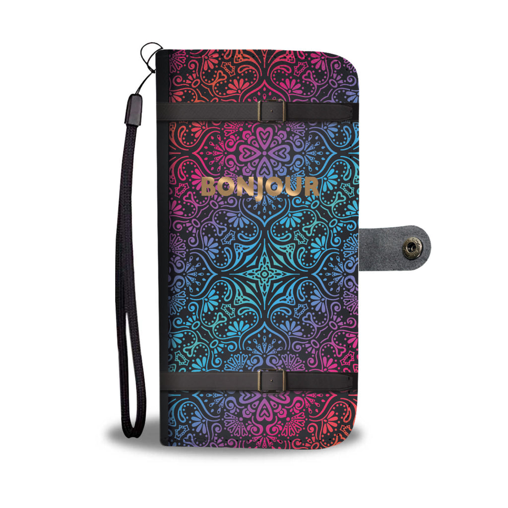 Beautiful Bonjour Pattern Wallet Phone Case