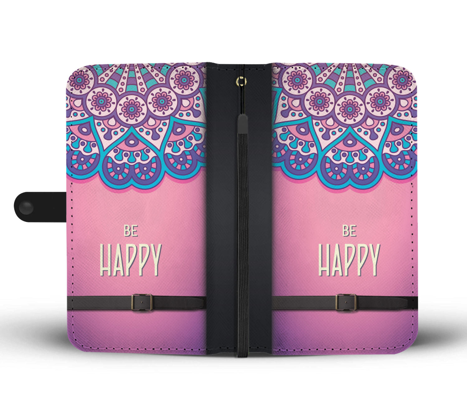 "Beautiful ""Be Happy"" Pattern Purple Wallet Phone Case"