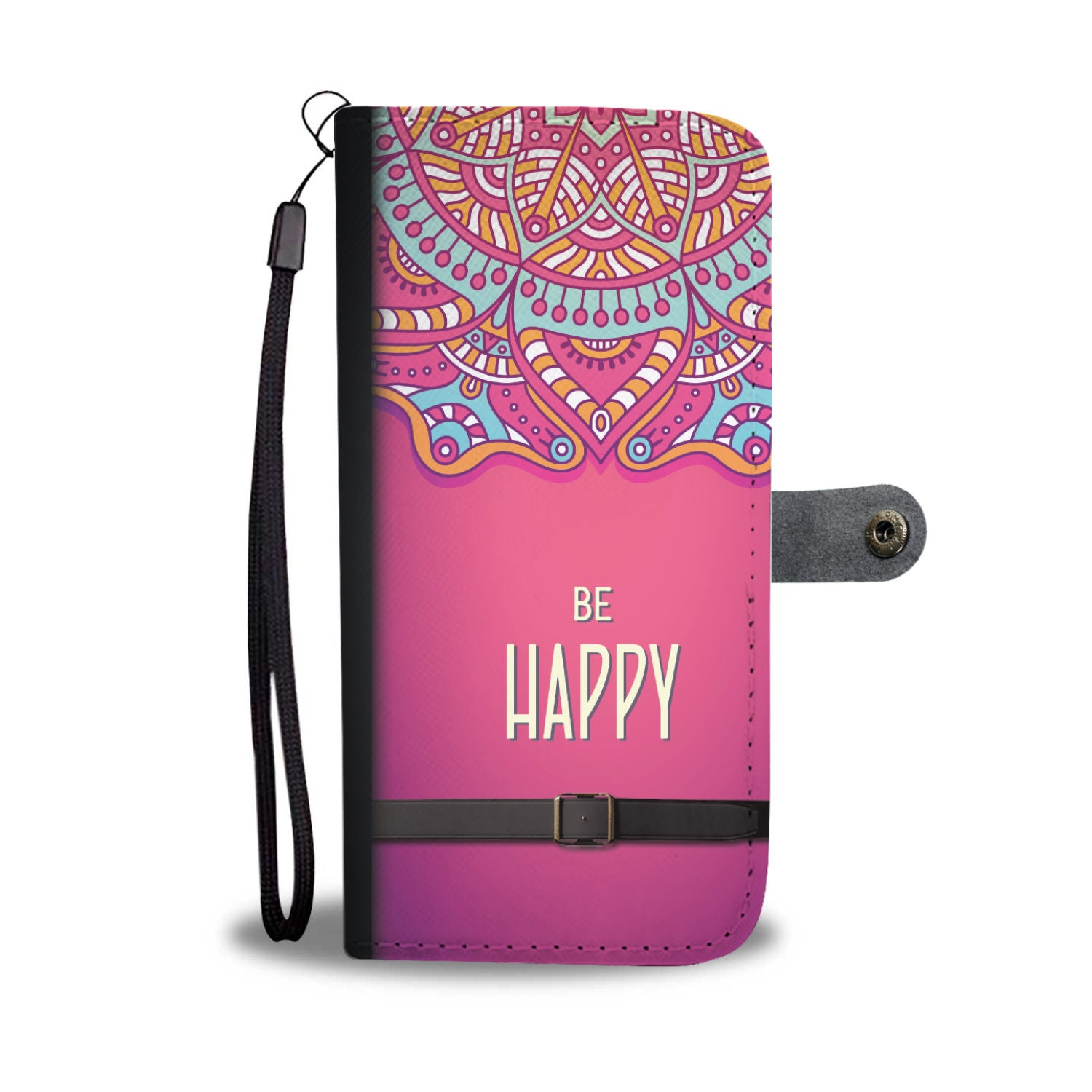 "Beautiful Pink ""Be Happy"" Wallet Phone Case"