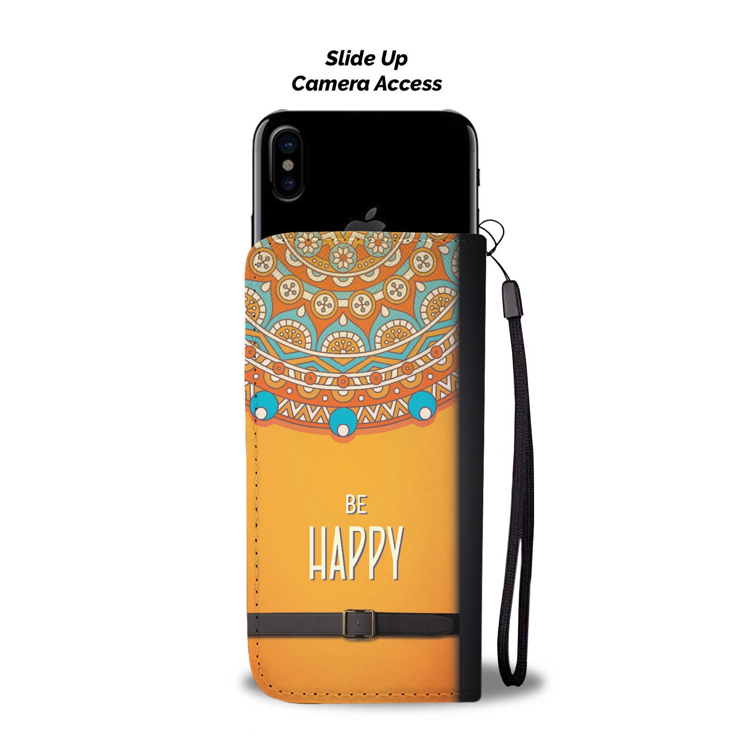 "Beautiful ""Be Happy"" Pattern Wallet Phone Case"