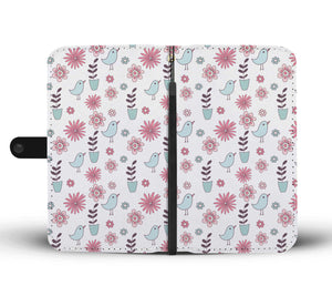 Beautiful Bird Flower Pattern Wallet Phone Case