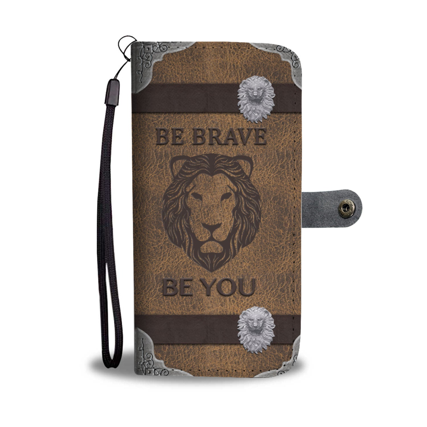 "Awesome Custom Designed ""Be Brave Be You"" Lion Wallet Phone Case"
