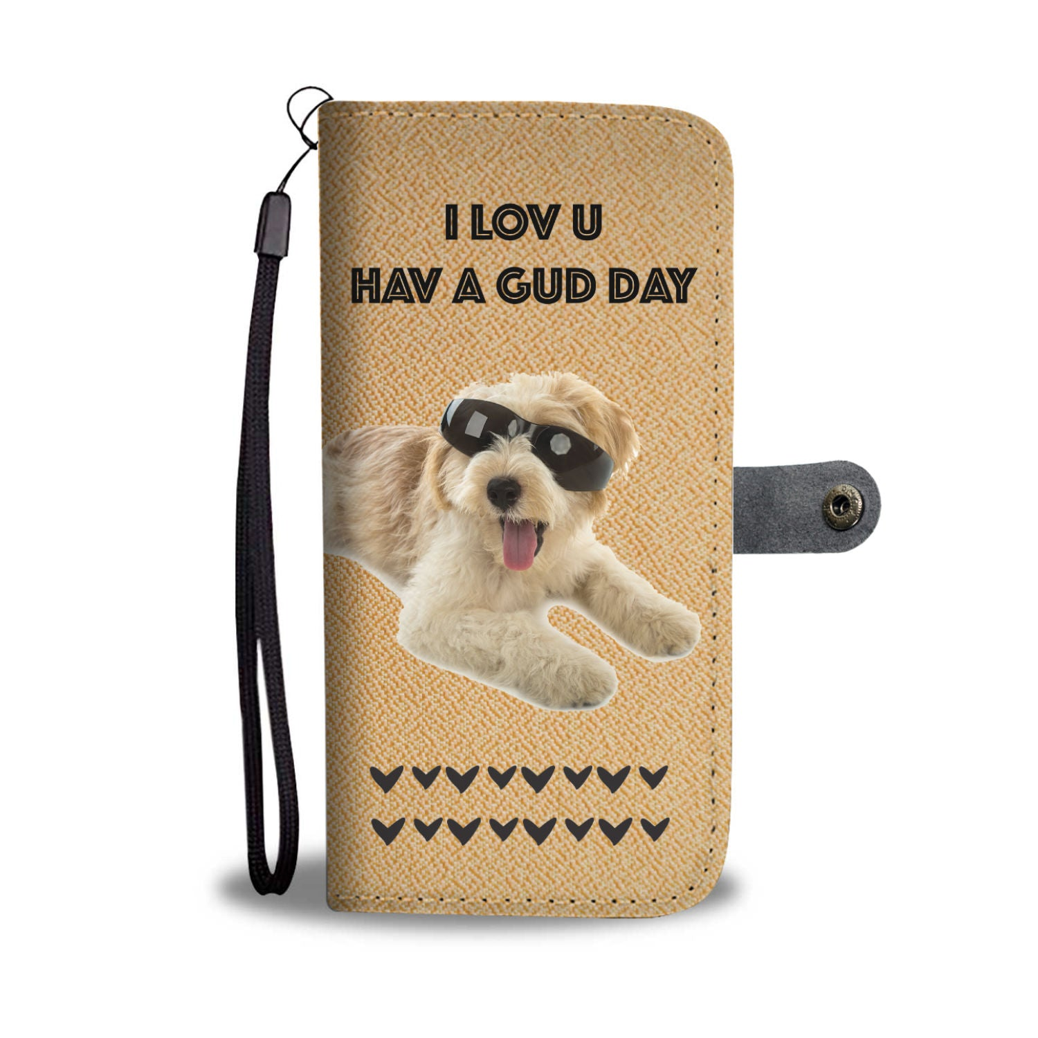 Hand-Crafted Custom Designed Old English Sheepdog Wallet Phone Case