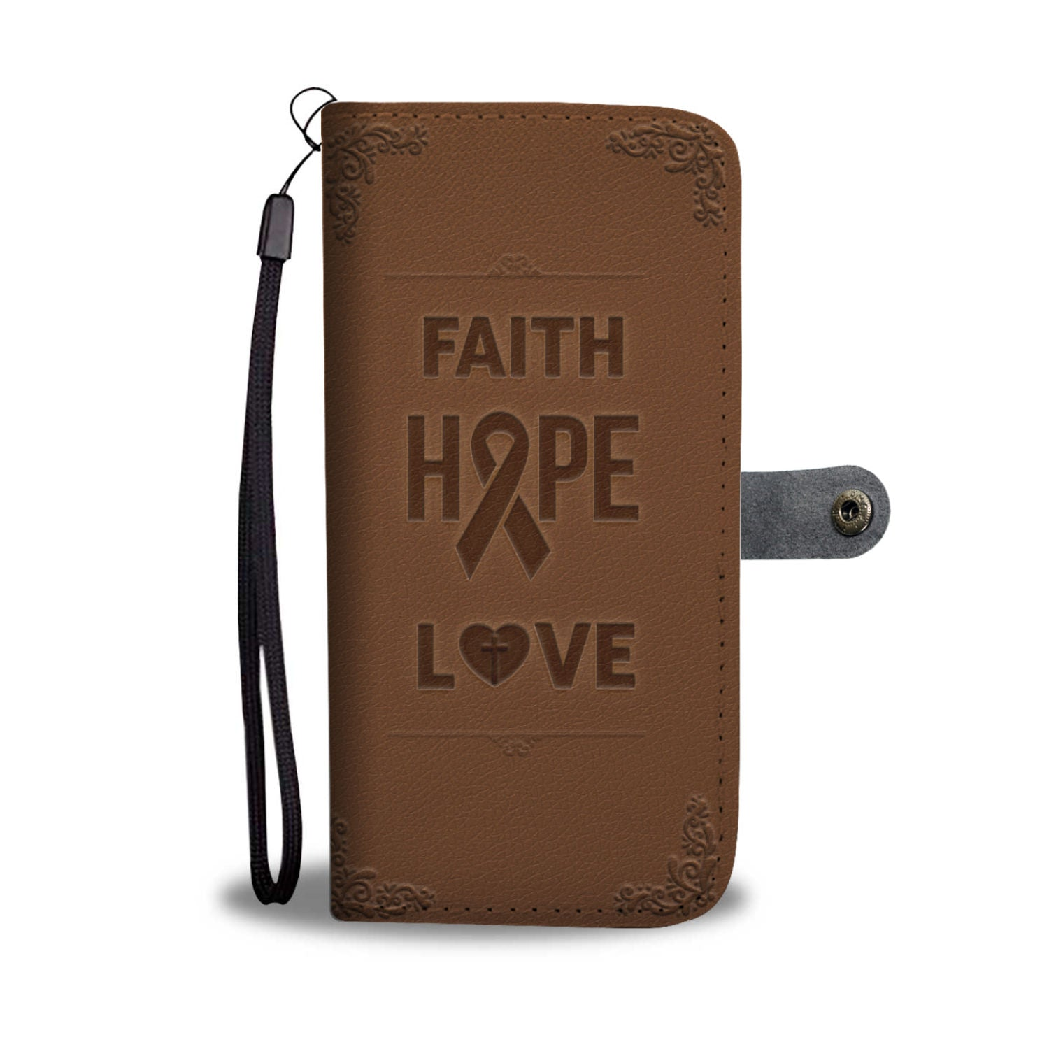 Hand-Crafted Custom Designed Faith Hope Love Breast Cancer Awareness Wallet Phone Case