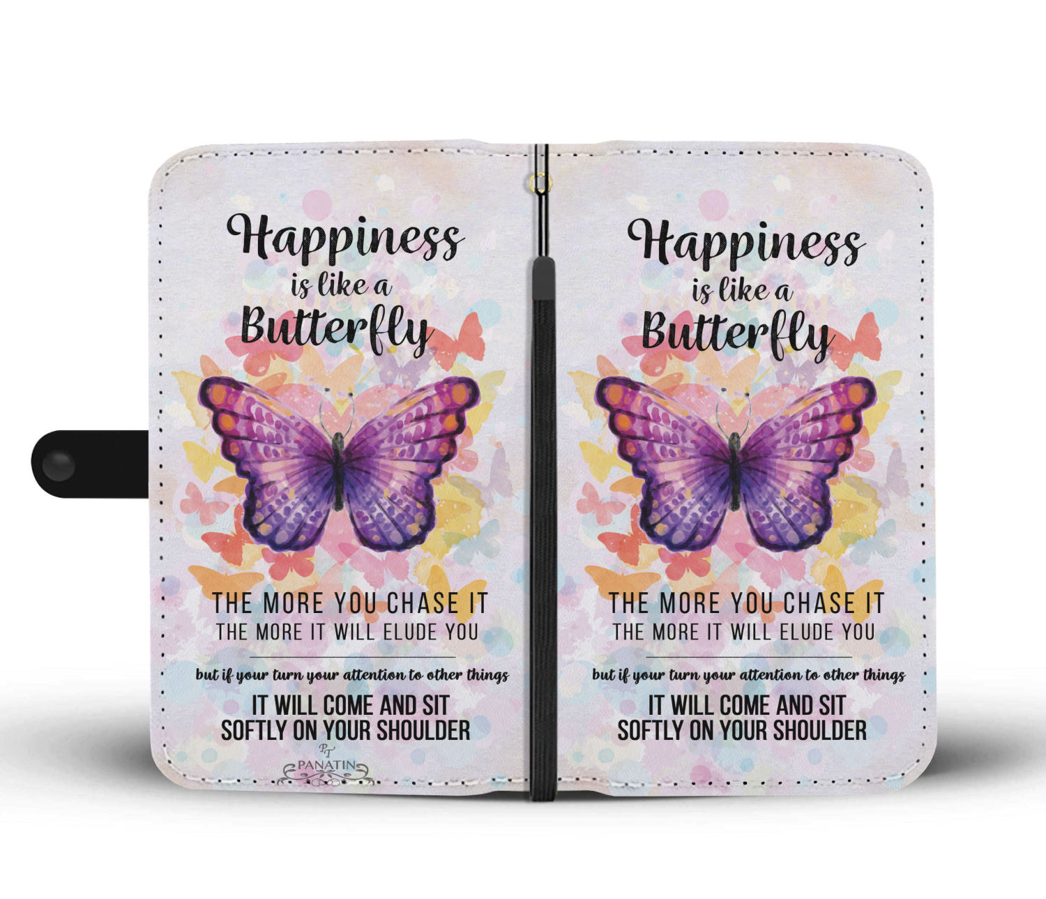 Hand-Crafted Custom-Designed Happiness Butterfly Love Wallet Phone Case
