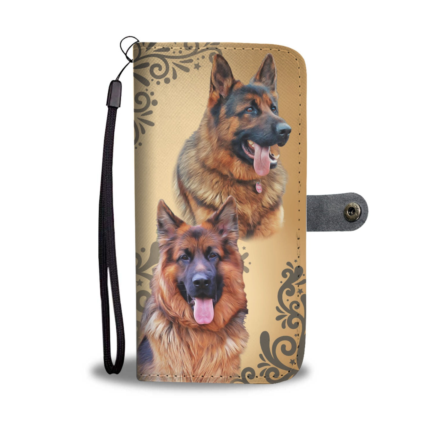 Hand-Crafted Custom-Designed Love German Shepherd Dog Wallet Phone Case