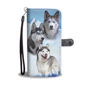 Hand-Crafted Love Husky Dog Wallet Phone Case