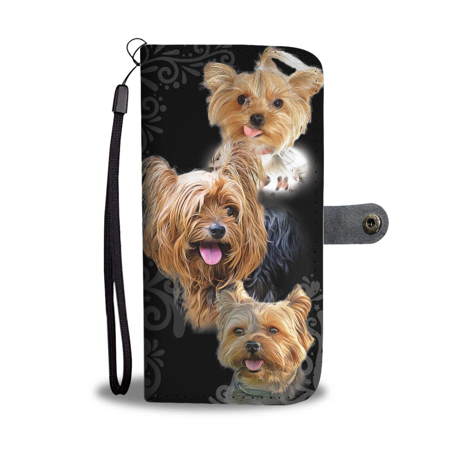 Custom Designed Yorkie Black Wallet Phone case
