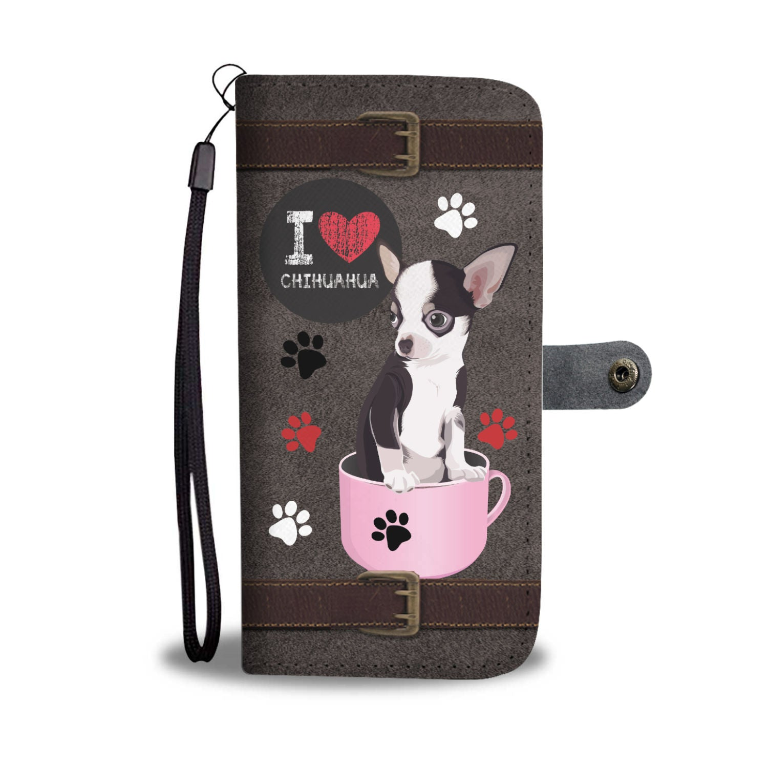 I Love Chihuahua Dog Wallet Phone Case