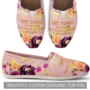 Beautiful Floral Give Thanks Causal Shoes