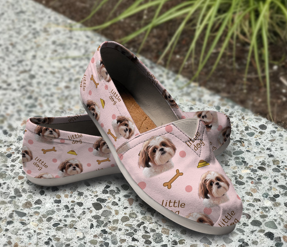 Beautiful Shih Tzu Pink Pattern Casual Shoes