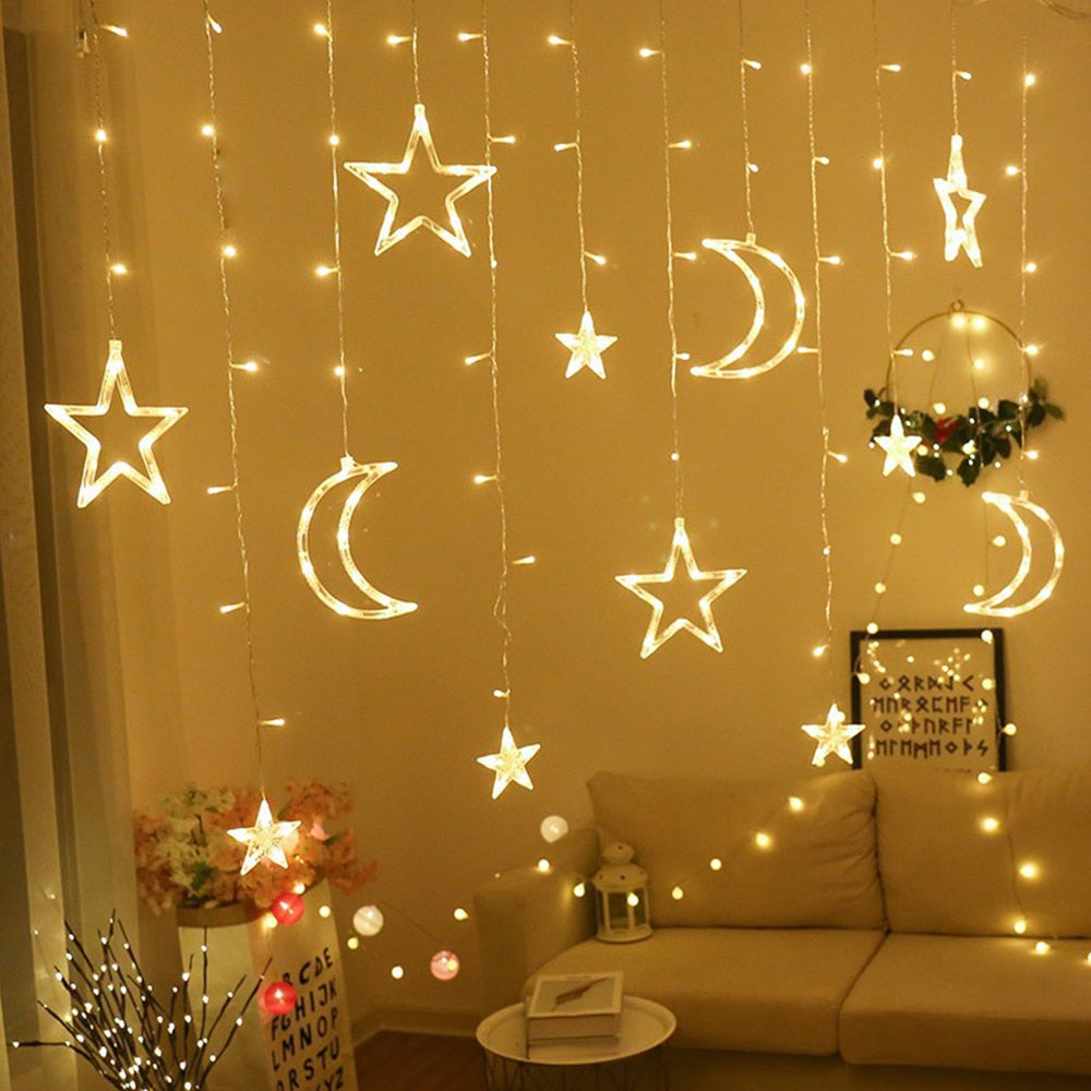 Beautiful Star Moon Curtain Light