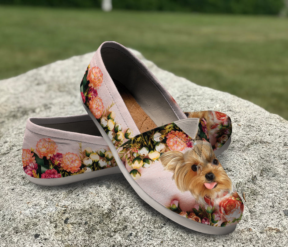 Beautiful Floral Yorkie Causal Shoes Loffr