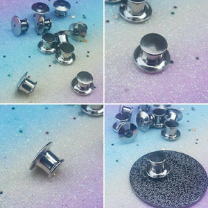 10 Silver Locking Pin Backs