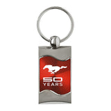 Ford Mustang 50 Years Keychain & Keyring - Red Wave