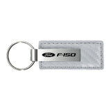 Ford F-150 Keychain & Keyring - White Carbon Fiber Texture Leather