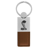 Ford Mustang Shelby Cobra Keychain & Keyring - Duo Premium Brown Leather
