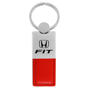 Honda Fit Keychain & Keyring - Duo Premium Red Leather