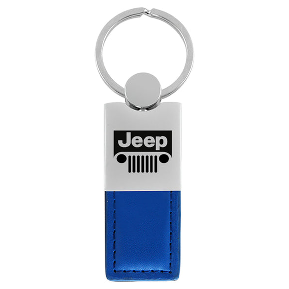 Jeep Grill Keychain & Keyring - Duo Premium Blue Leather