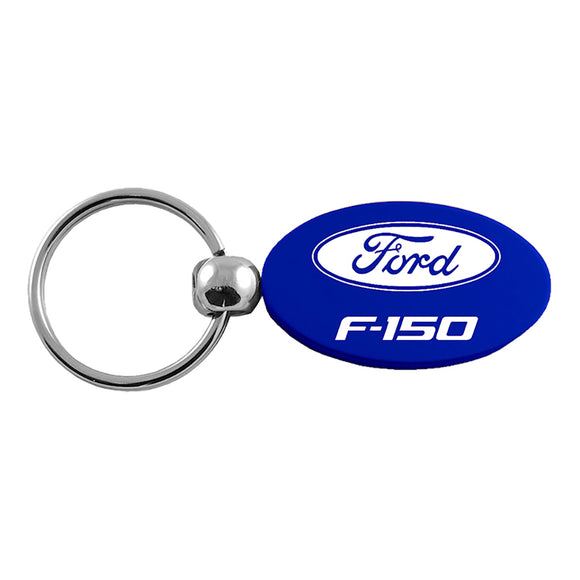 Ford Racing Key Ring Black and Chrome Leather Rectangular Keychain