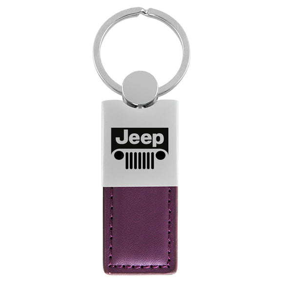 Jeep Grill Keychain & Keyring - Duo Premium Purple Leather