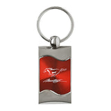 Ford Mustang in Script Keychain & Keyring - Red Wave