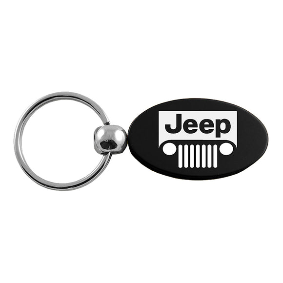 Jeep Grill Keychain & Keyring - Black Oval