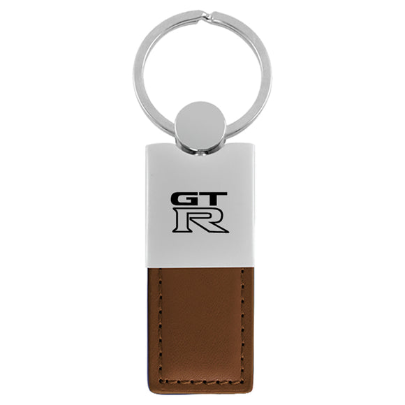 Nissan GT-R Keychain & Keyring - Duo Premium Brown Leather
