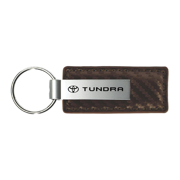 Toyota Tundra Keychain & Keyring - Brown Carbon Fiber Texture Leather