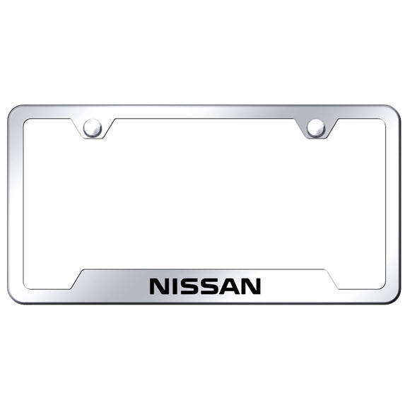 Nissan License Plate Frame - Laser Etched Cut-Out Frame - Stainless Steel