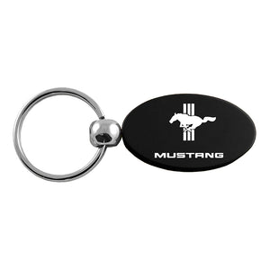 Ford Mustang Tri-Bar Keychain & Keyring - Black Oval