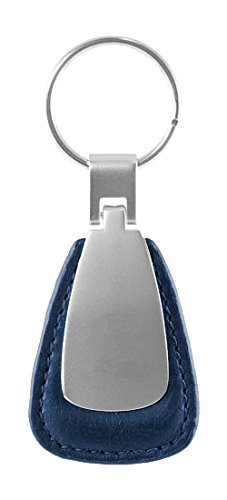 Metal Promotional Keychain & Keyring - Blue Leather Teardrop