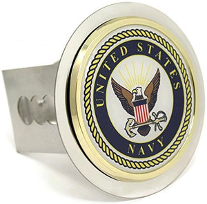US Navy Chrome Trailer Hitch Cover Plug