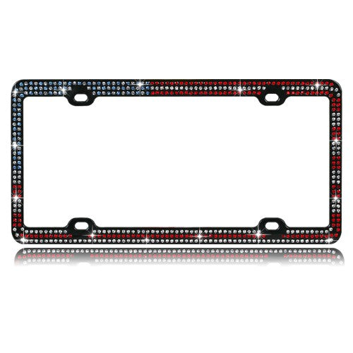 Red, White and Blue Crystals Black Metal License Plate Frame