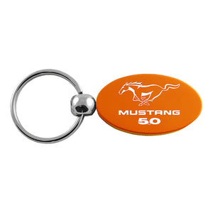 Ford Mustang 5.0 Keychain & Keyring - Orange Oval