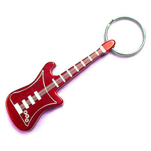Guitar Keychain & Keyring - Bottle Opener - Red