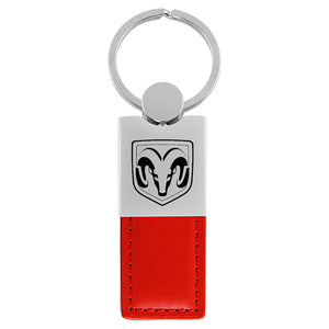 Dodge Ram Head Keychain & Keyring - Duo Premium Red Leather