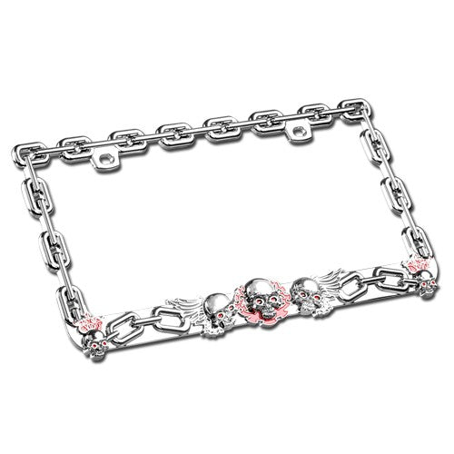 Raging Skulls Design Chrome Coating Metal Frame