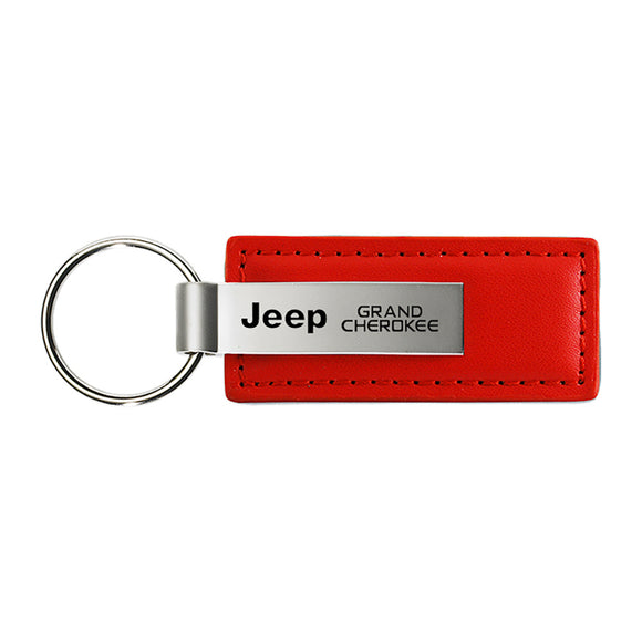 Jeep Grand Cherokee Keychain & Keyring - Red Premium Leather